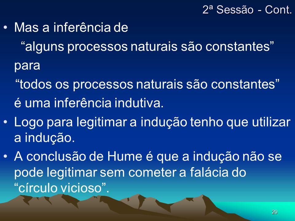20 Mas a inferência de alguns processos naturais são constantes para todos os processos naturais são constantes é uma inferência indutiva. Logo para l