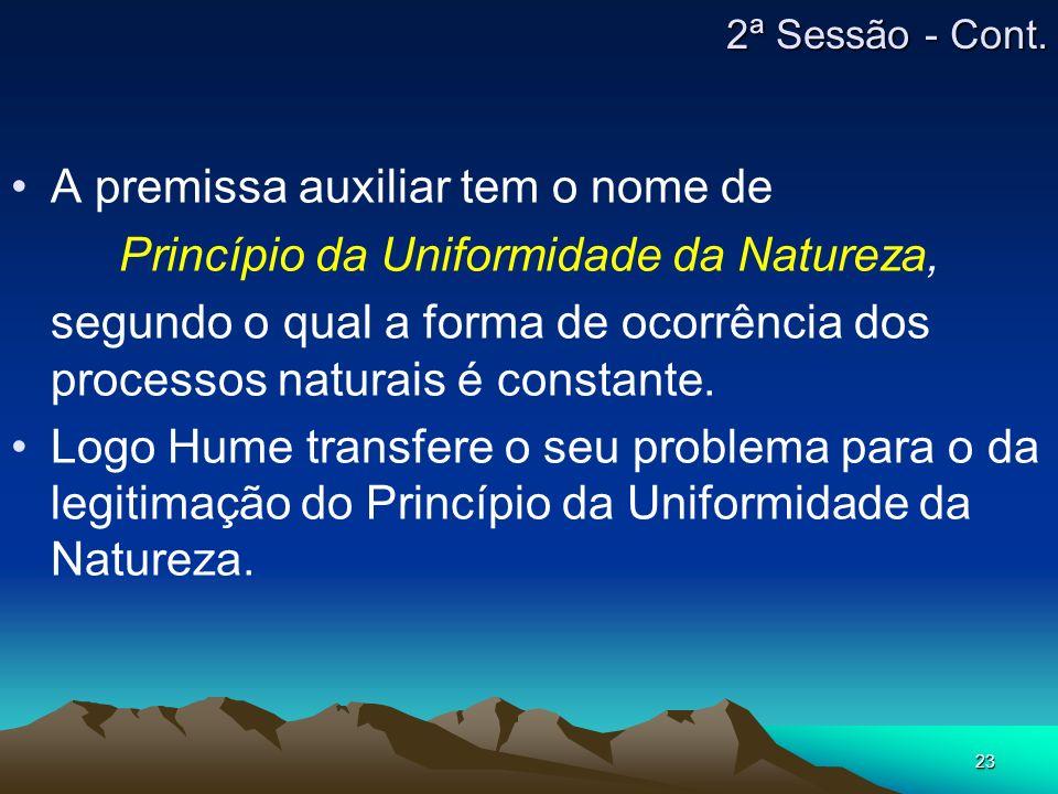 23 A premissa auxiliar tem o nome de Princípio da Uniformidade da Natureza, segundo o qual a forma de ocorrência dos processos naturais é constante. L
