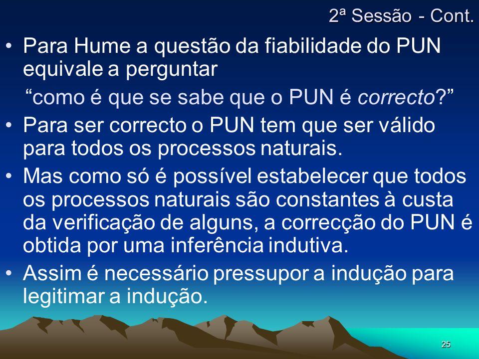 25 Para Hume a questão da fiabilidade do PUN equivale a perguntar como é que se sabe que o PUN é correcto? Para ser correcto o PUN tem que ser válido
