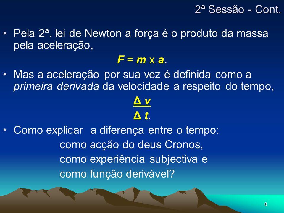 8 Pela 2ª. lei de Newton a força é o produto da massa pela aceleração, F = m x a.F = m x a. Mas a aceleração por sua vez é definida como a primeira de