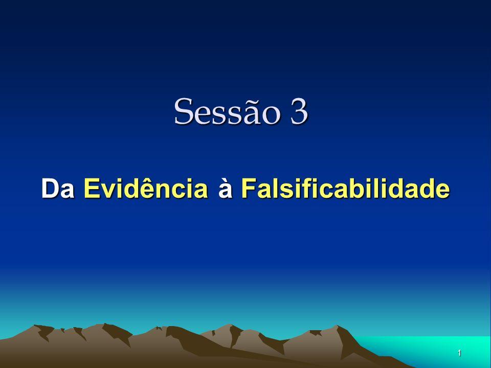 1 Sessão 3 Da Evidência à Falsificabilidade