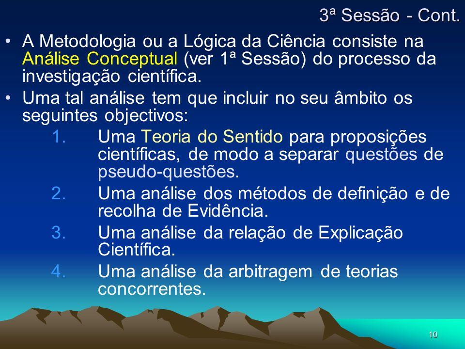 10 A Metodologia ou a Lógica da Ciência consiste na Análise Conceptual (ver 1ª Sessão) do processo da investigação científica.