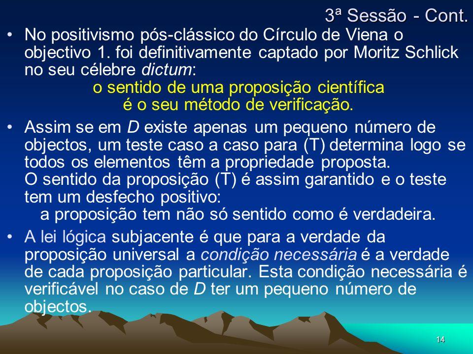 14 No positivismo pós-clássico do Círculo de Viena o objectivo 1.