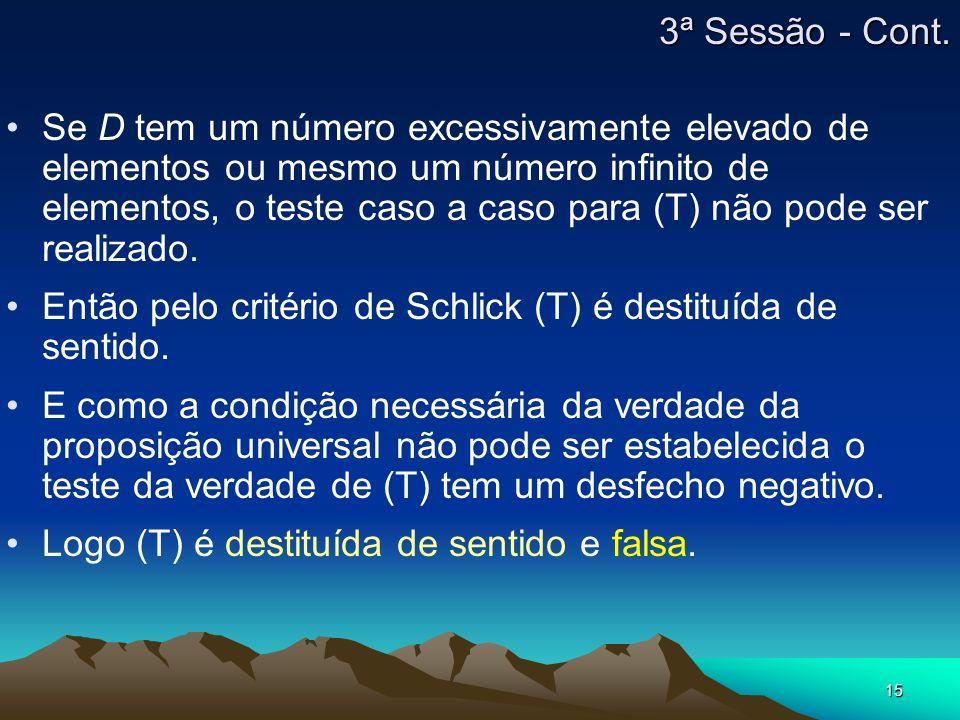 15 Se D tem um número excessivamente elevado de elementos ou mesmo um número infinito de elementos, o teste caso a caso para (T) não pode ser realizado.