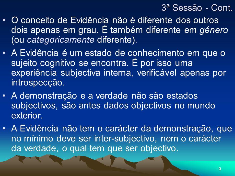 9 O conceito de Evidência não é diferente dos outros dois apenas em grau.