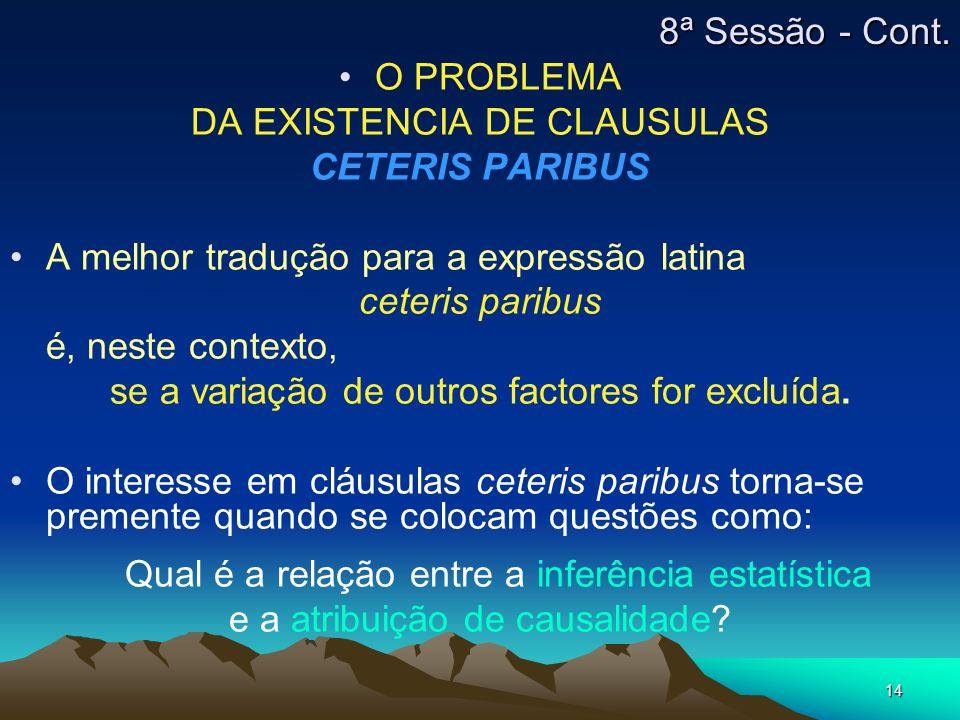 14 O PROBLEMA DA EXISTENCIA DE CLAUSULAS CETERIS PARIBUS A melhor tradução para a expressão latina ceteris paribus é, neste contexto, se a variação de