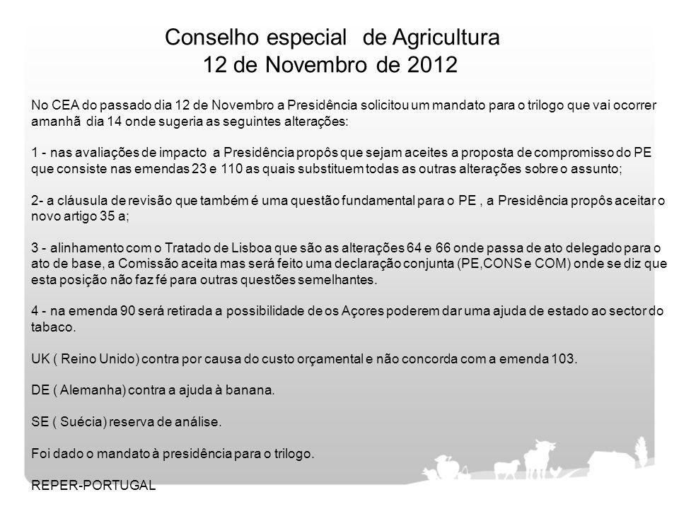 No CEA do passado dia 12 de Novembro a Presidência solicitou um mandato para o trilogo que vai ocorrer amanhã dia 14 onde sugeria as seguintes alteraç