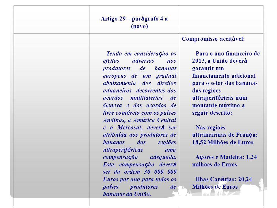 Artigo 29 – par á grafo 4 a (novo) Tendo em considera ç ão os efeitos adversos nos produtores de bananas europeus de um gradual abaixamento dos direit