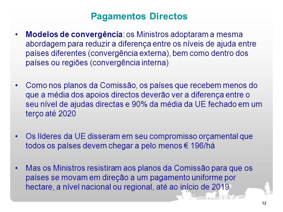 12 Pagamentos Directos Modelos de convergência: os Ministros adoptaram a mesma abordagem para reduzir a diferença entre os níveis de ajuda entre paíse