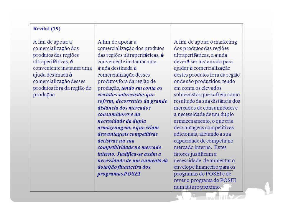 Recital (19) A fim de apoiar a comercializa ç ão dos produtos das regiões ultraperif é ricas, é conveniente instaurar uma ajuda destinada à comerciali
