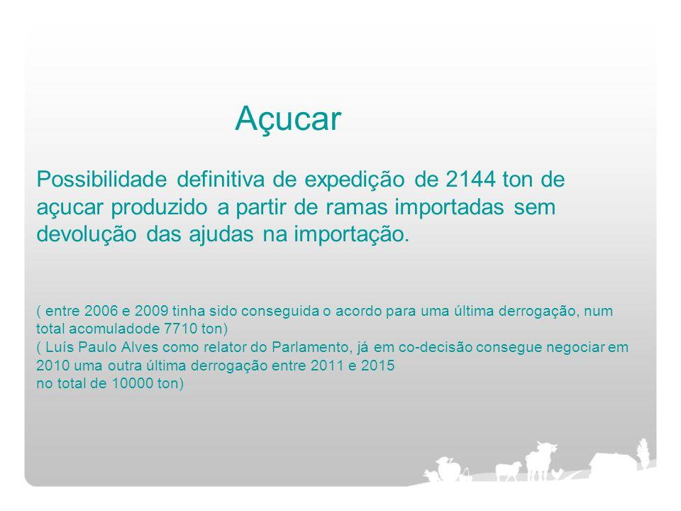 Açucar Possibilidade definitiva de expedição de 2144 ton de açucar produzido a partir de ramas importadas sem devolução das ajudas na importação. ( en