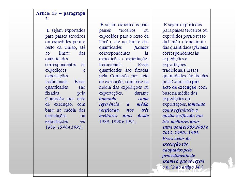 Article 13 – paragraph 2 E sejam exportados para países terceiros ou expedidos para o resto da União, até ao limite das quantidades correspondentes às