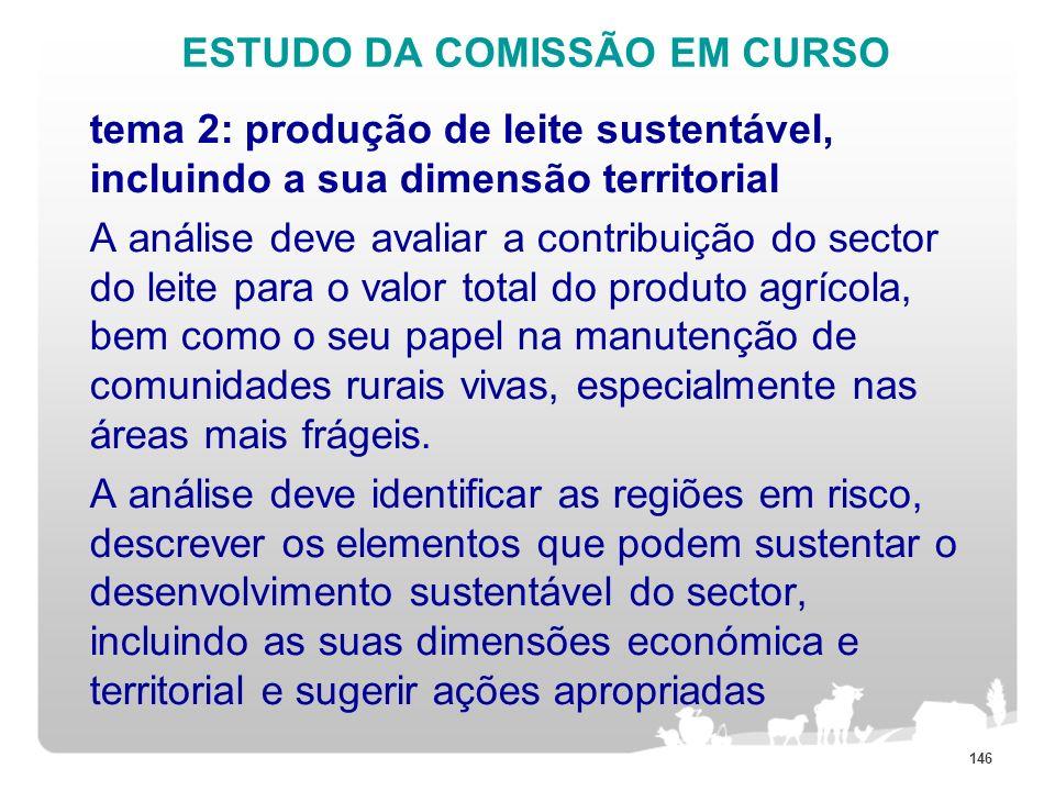 ESTUDO DA COMISSÃO EM CURSO tema 2: produção de leite sustentável, incluindo a sua dimensão territorial A análise deve avaliar a contribuição do secto
