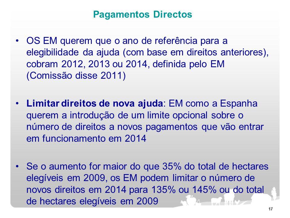 17 Pagamentos Directos OS EM querem que o ano de referência para a elegibilidade da ajuda (com base em direitos anteriores), cobram 2012, 2013 ou 2014