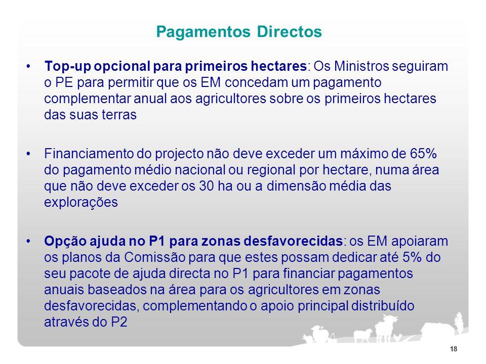 18 Pagamentos Directos Top-up opcional para primeiros hectares: Os Ministros seguiram o PE para permitir que os EM concedam um pagamento complementar