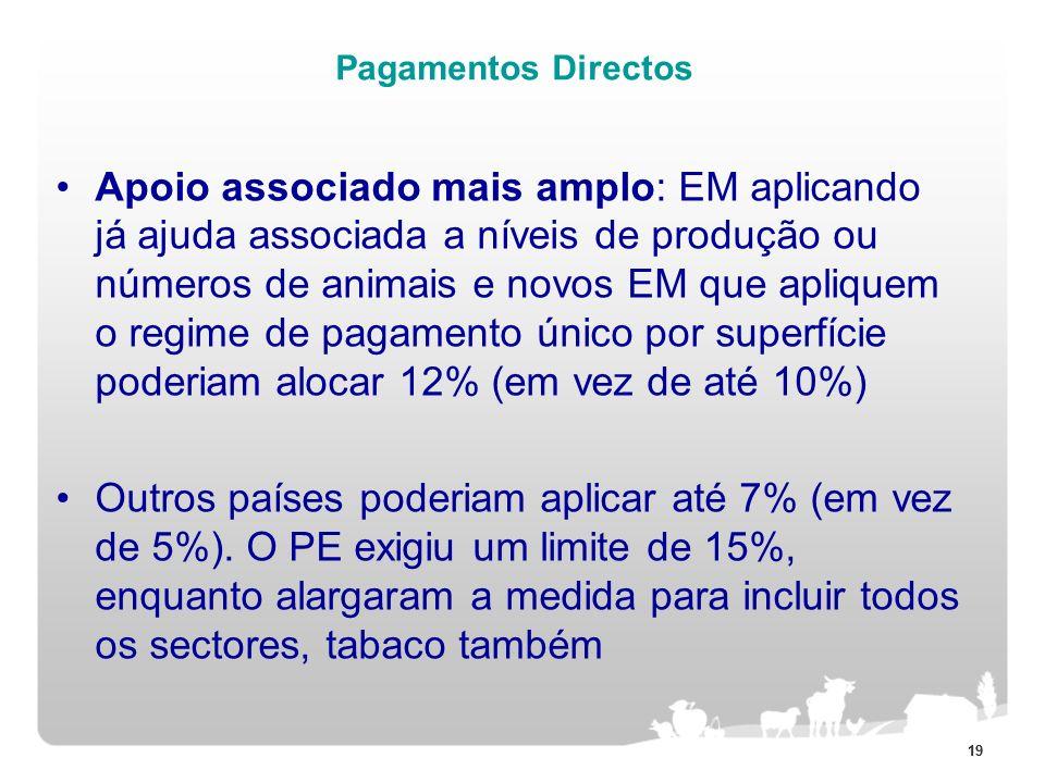 19 Pagamentos Directos Apoio associado mais amplo: EM aplicando já ajuda associada a níveis de produção ou números de animais e novos EM que apliquem