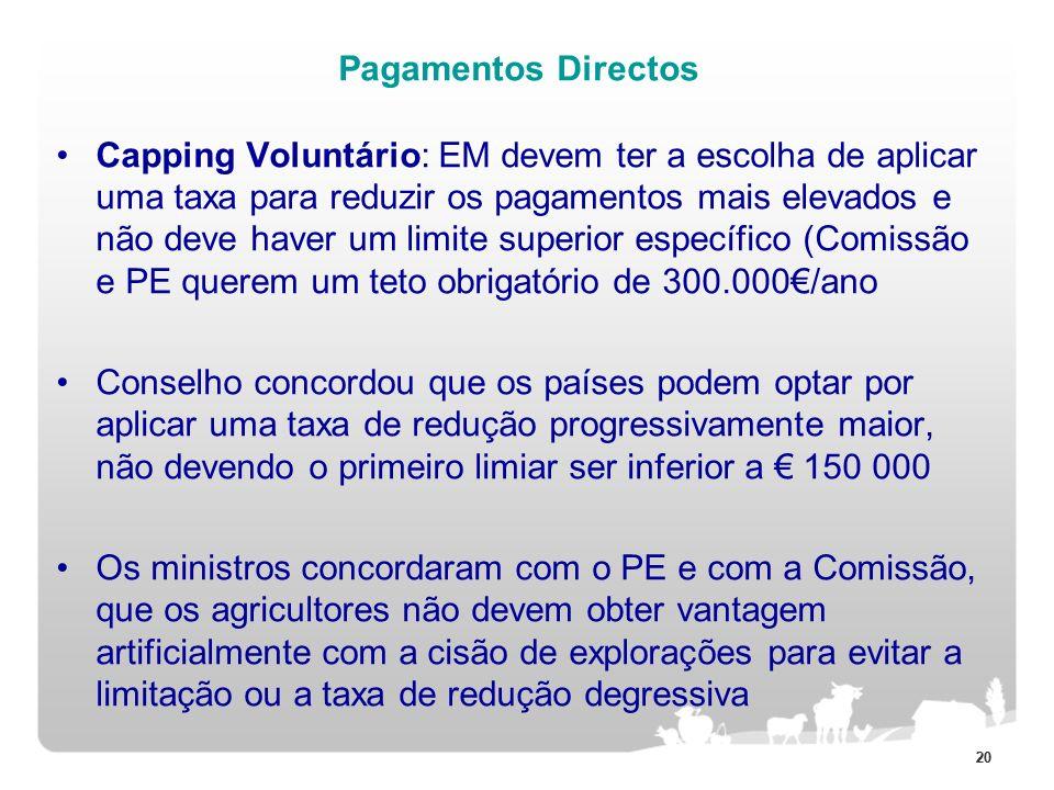 20 Pagamentos Directos Capping Voluntário: EM devem ter a escolha de aplicar uma taxa para reduzir os pagamentos mais elevados e não deve haver um lim