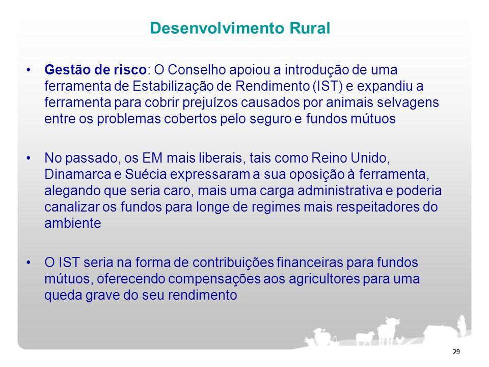 29 Desenvolvimento Rural Gestão de risco: O Conselho apoiou a introdução de uma ferramenta de Estabilização de Rendimento (IST) e expandiu a ferrament