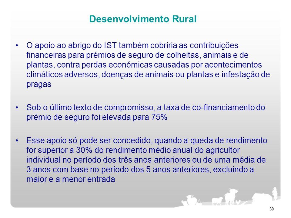 30 Desenvolvimento Rural O apoio ao abrigo do IST também cobriria as contribuições financeiras para prémios de seguro de colheitas, animais e de plant