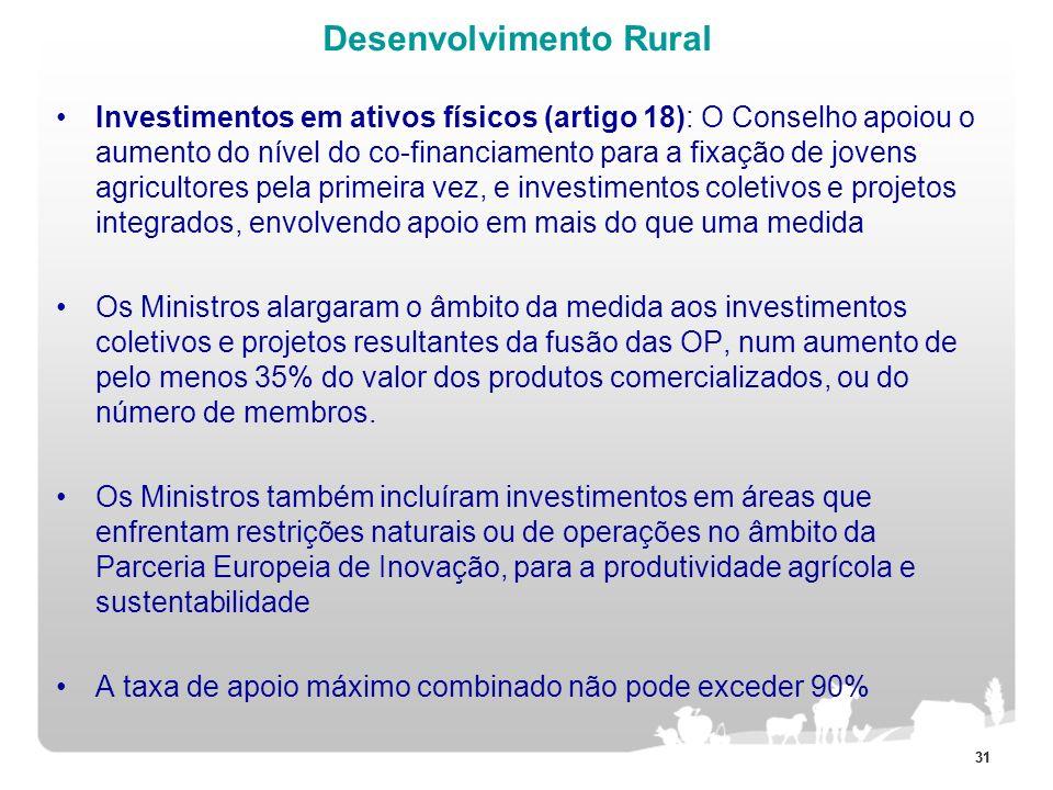 31 Desenvolvimento Rural Investimentos em ativos físicos (artigo 18): O Conselho apoiou o aumento do nível do co-financiamento para a fixação de joven