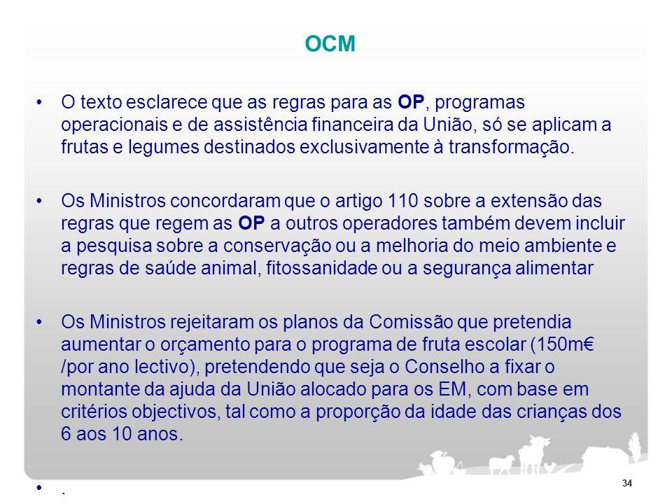 34 OCM O texto esclarece que as regras para as OP, programas operacionais e de assistência financeira da União, só se aplicam a frutas e legumes desti