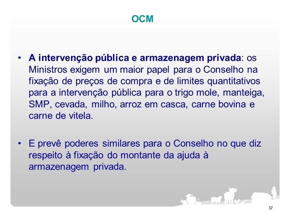 37 OCM A intervenção pública e armazenagem privada: os Ministros exigem um maior papel para o Conselho na fixação de preços de compra e de limites qua