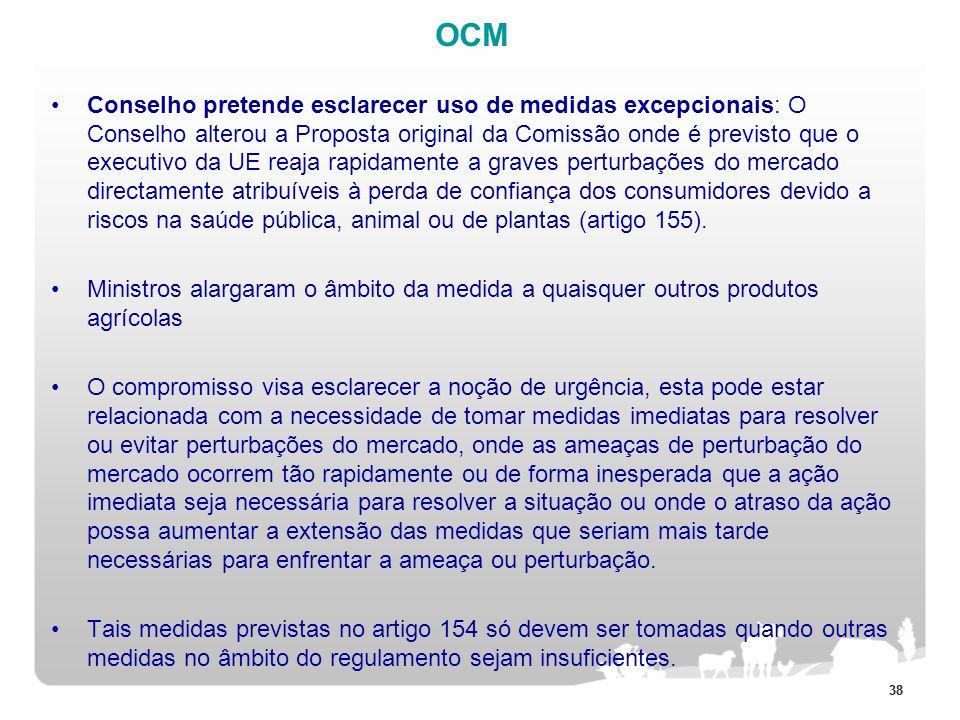 38 OCM Conselho pretende esclarecer uso de medidas excepcionais: O Conselho alterou a Proposta original da Comissão onde é previsto que o executivo da