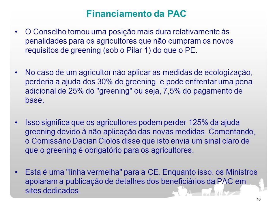 40 Financiamento da PAC O Conselho tomou uma posição mais dura relativamente às penalidades para os agricultores que não cumpram os novos requisitos d