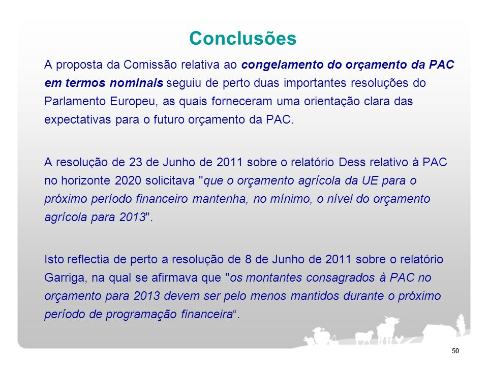 50 Conclusões A proposta da Comissão relativa ao congelamento do orçamento da PAC em termos nominais seguiu de perto duas importantes resoluções do Pa