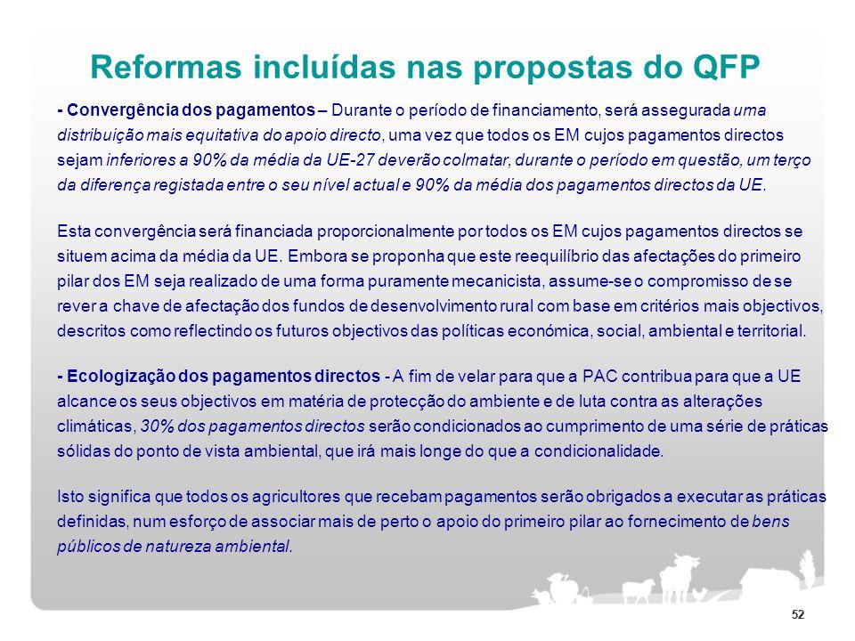 52 Reformas incluídas nas propostas do QFP - Convergência dos pagamentos – Durante o período de financiamento, será assegurada uma distribuição mais e