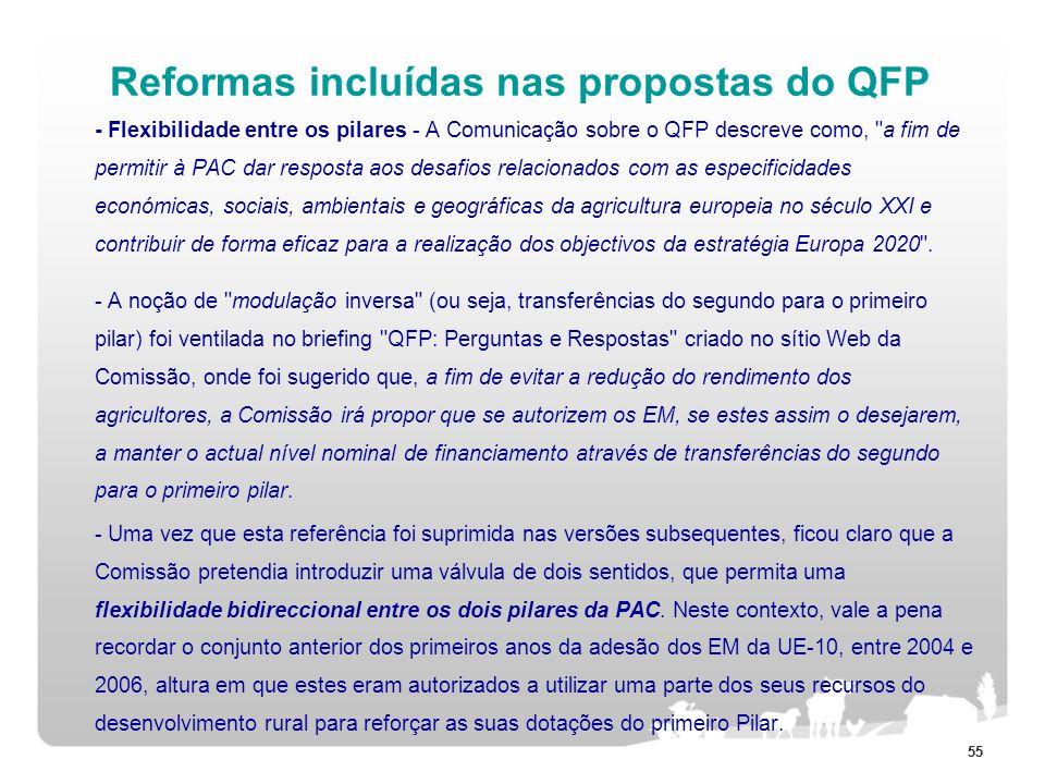 55 Reformas incluídas nas propostas do QFP - Flexibilidade entre os pilares - A Comunicação sobre o QFP descreve como,