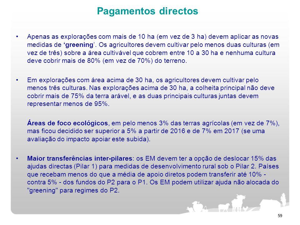 59 Pagamentos directos Apenas as explorações com mais de 10 ha (em vez de 3 ha) devem aplicar as novas medidas de greening. Os agricultores devem cult