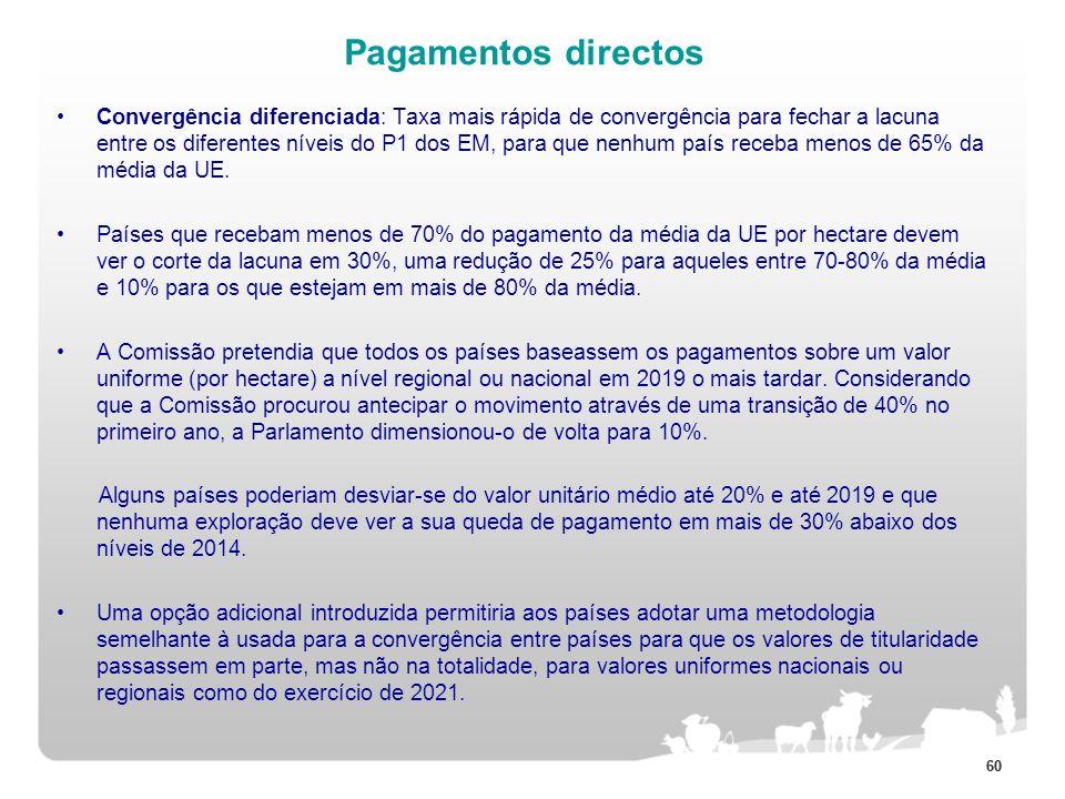 60 Pagamentos directos Convergência diferenciada: Taxa mais rápida de convergência para fechar a lacuna entre os diferentes níveis do P1 dos EM, para