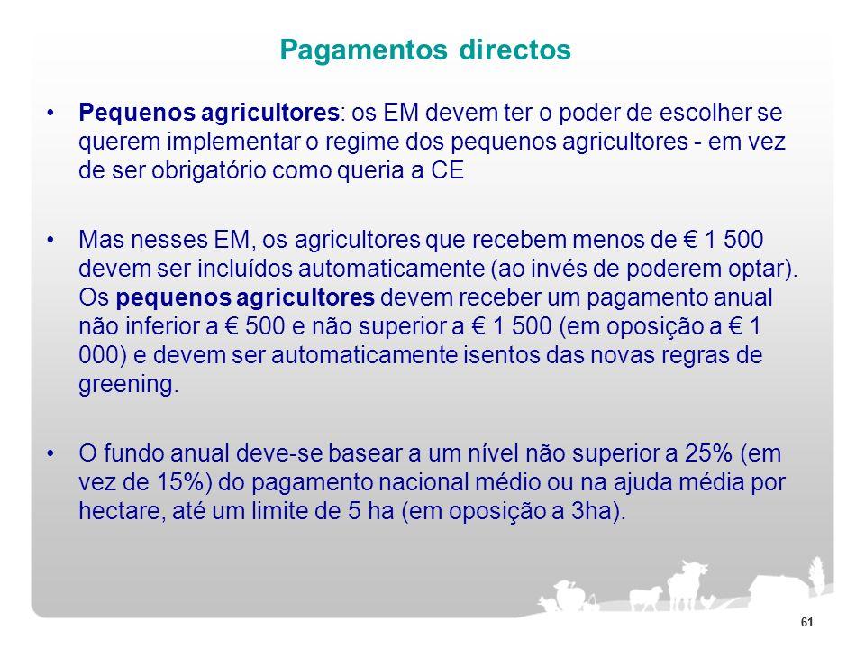 61 Pagamentos directos Pequenos agricultores: os EM devem ter o poder de escolher se querem implementar o regime dos pequenos agricultores - em vez de
