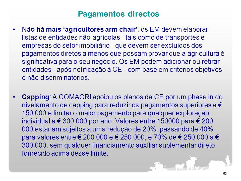 63 Pagamentos directos Não há mais agricultores arm chair: os EM devem elaborar listas de entidades não-agrícolas - tais como de transportes e empresa