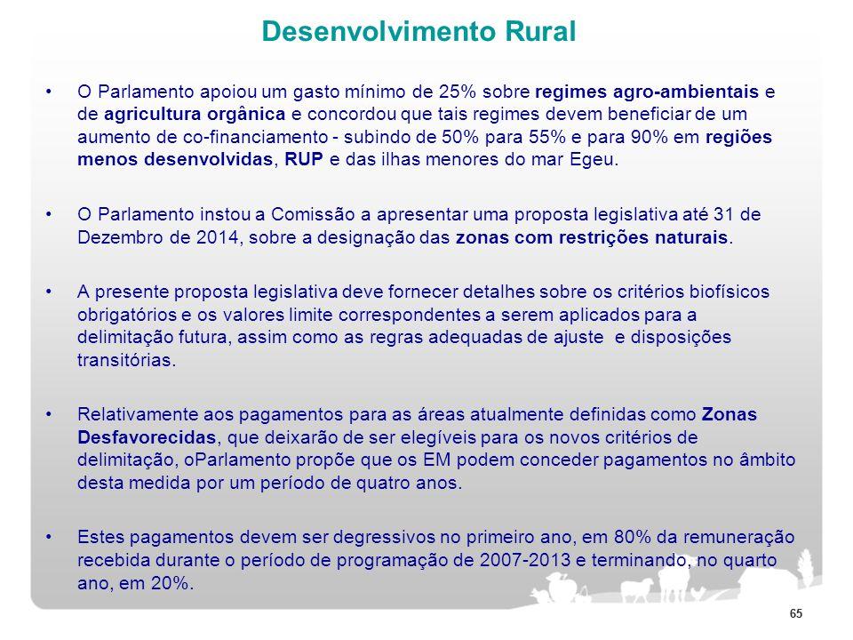 65 Desenvolvimento Rural O Parlamento apoiou um gasto mínimo de 25% sobre regimes agro-ambientais e de agricultura orgânica e concordou que tais regim