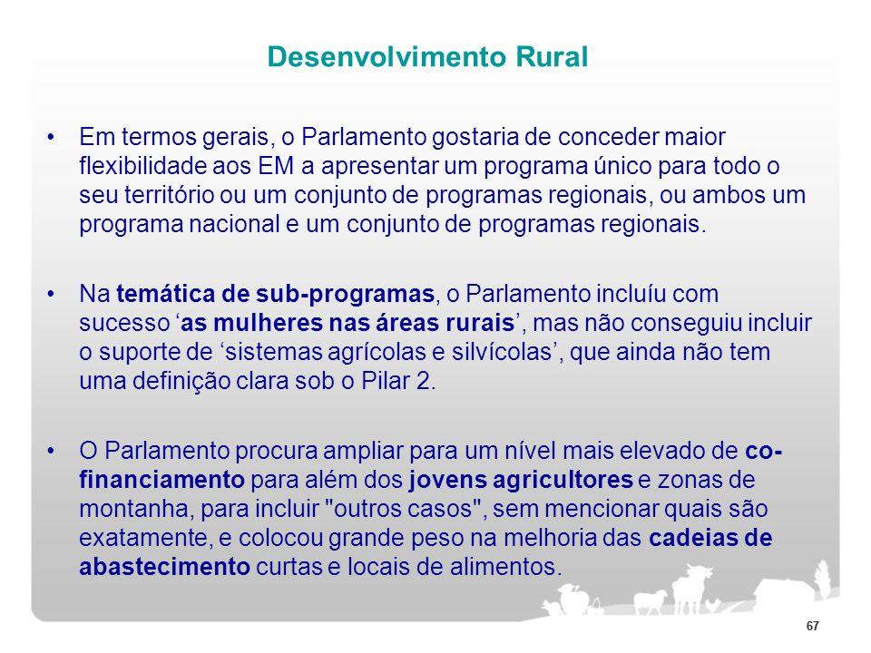 67 Desenvolvimento Rural Em termos gerais, o Parlamento gostaria de conceder maior flexibilidade aos EM a apresentar um programa único para todo o seu