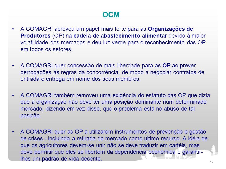 73 OCM A COMAGRI aprovou um papel mais forte para as Organizações de Produtores (OP) na cadeia de abastecimento alimentar devido à maior volatilidade