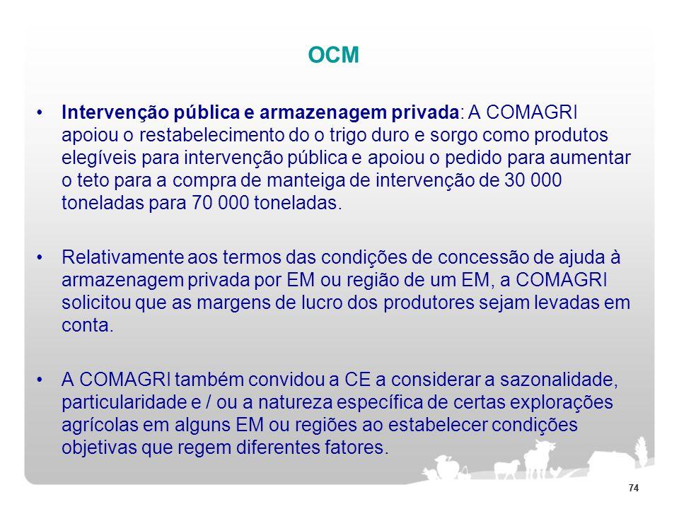 74 OCM Intervenção pública e armazenagem privada: A COMAGRI apoiou o restabelecimento do o trigo duro e sorgo como produtos elegíveis para intervenção