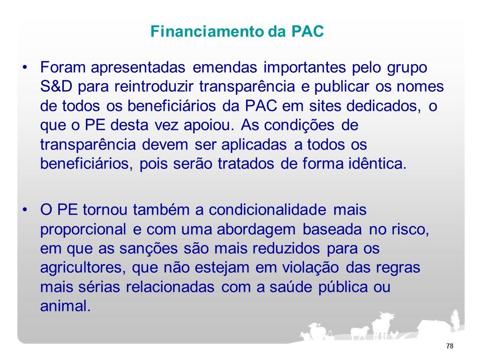 78 Financiamento da PAC Foram apresentadas emendas importantes pelo grupo S&D para reintroduzir transparência e publicar os nomes de todos os benefici