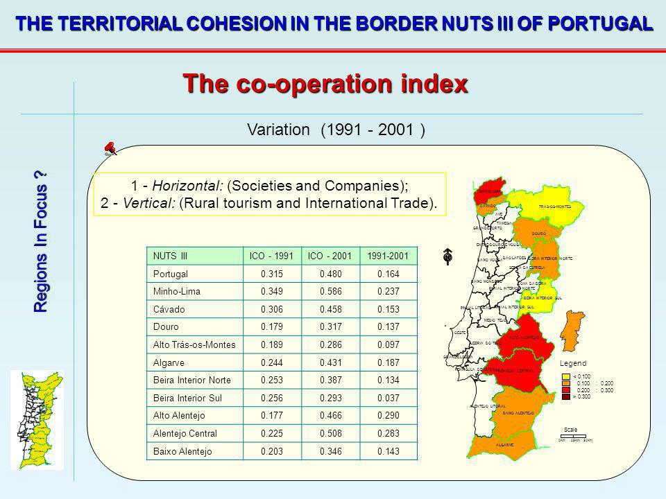 Regions In Focus ? THE TERRITORIAL COHESION IN THE BORDER NUTS III OF PORTUGAL Variation (1991 - 2001 ) 1 - Horizontal: (Societies and Companies); 2 -