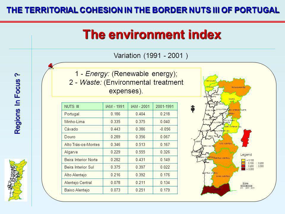 Regions In Focus ? THE TERRITORIAL COHESION IN THE BORDER NUTS III OF PORTUGAL Variation (1991 - 2001 ) 1 - Energy: (Renewable energy); 2 - Waste: (En