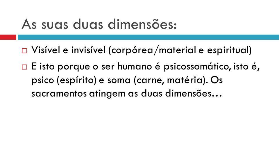 As suas duas dimensões: Visível e invisível (corpórea/material e espiritual) E isto porque o ser humano é psicossomático, isto é, psico (espírito) e soma (carne, matéria).