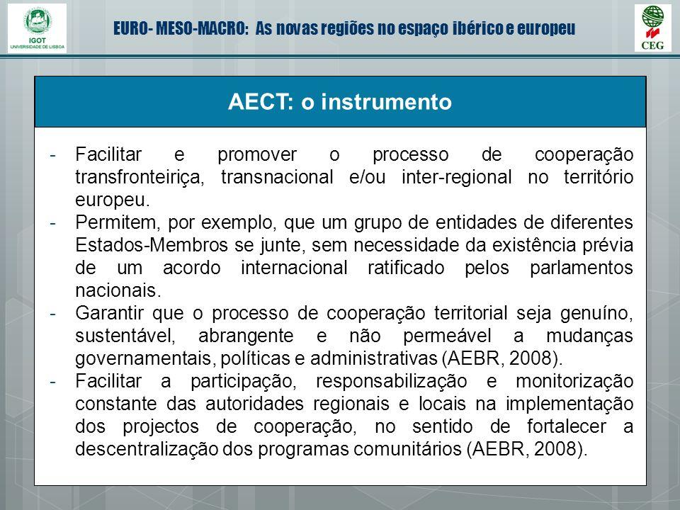 EURO- MESO-MACRO: As novas regiões no espaço ibérico e europeu AECT: o instrumento -Facilitar e promover o processo de cooperação transfronteiriça, tr