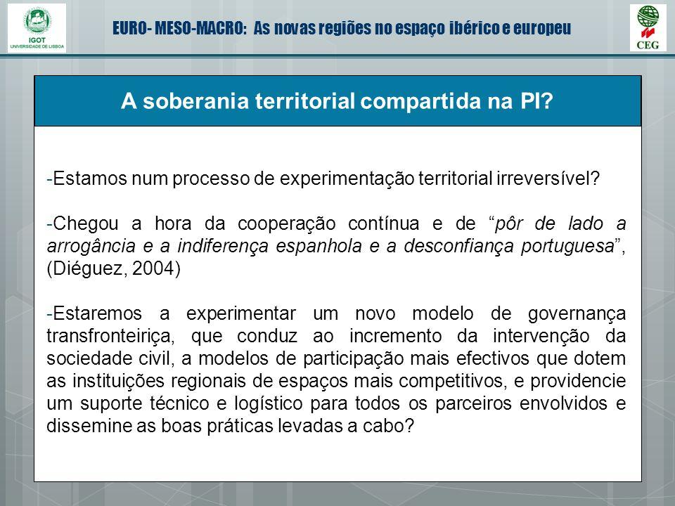EURO- MESO-MACRO: As novas regiões no espaço ibérico e europeu A soberania territorial compartida na PI? -Estamos num processo de experimentação terri