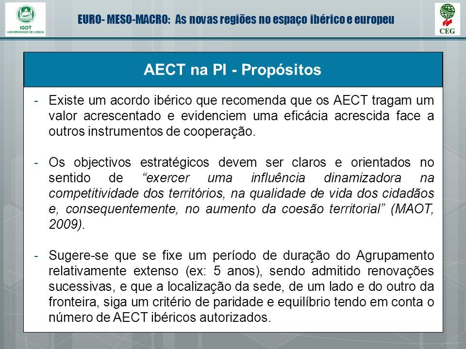 EURO- MESO-MACRO: As novas regiões no espaço ibérico e europeu AECT na PI - Propósitos -Existe um acordo ibérico que recomenda que os AECT tragam um v