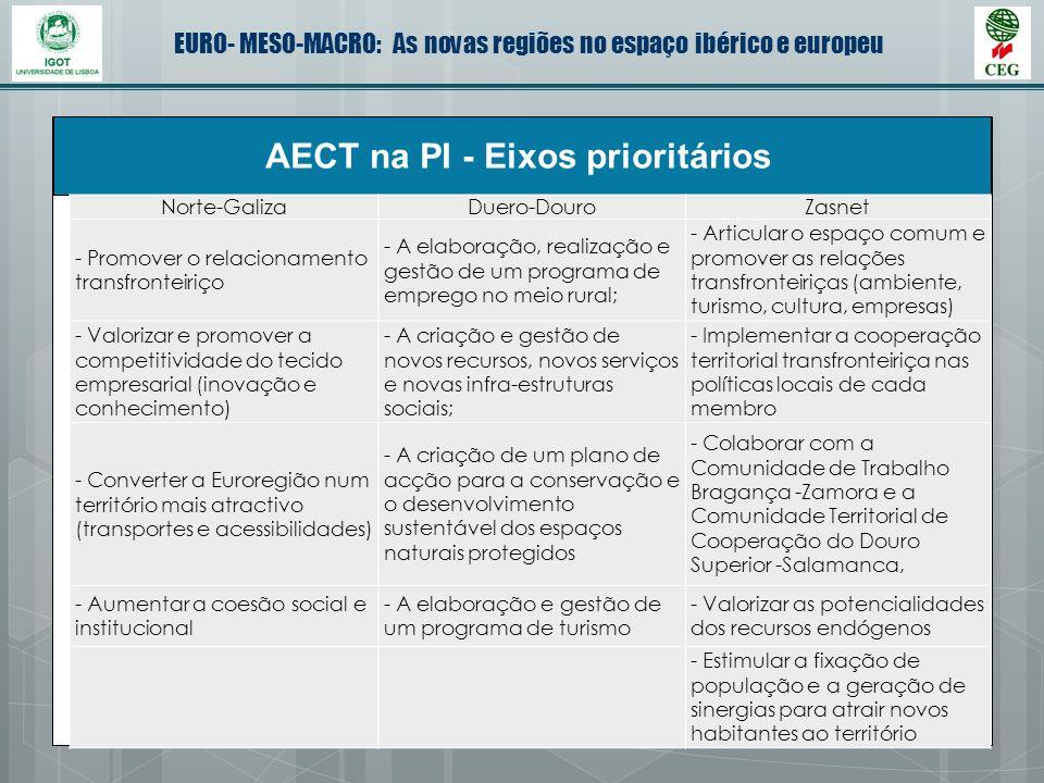 EURO- MESO-MACRO: As novas regiões no espaço ibérico e europeu AECT na PI - Eixos prioritários Norte-GalizaDuero-DouroZasnet - Promover o relacionamen