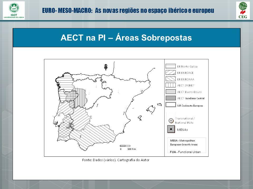 EURO- MESO-MACRO: As novas regiões no espaço ibérico e europeu AECT na PI – Áreas Sobrepostas FUA - Functional Urban