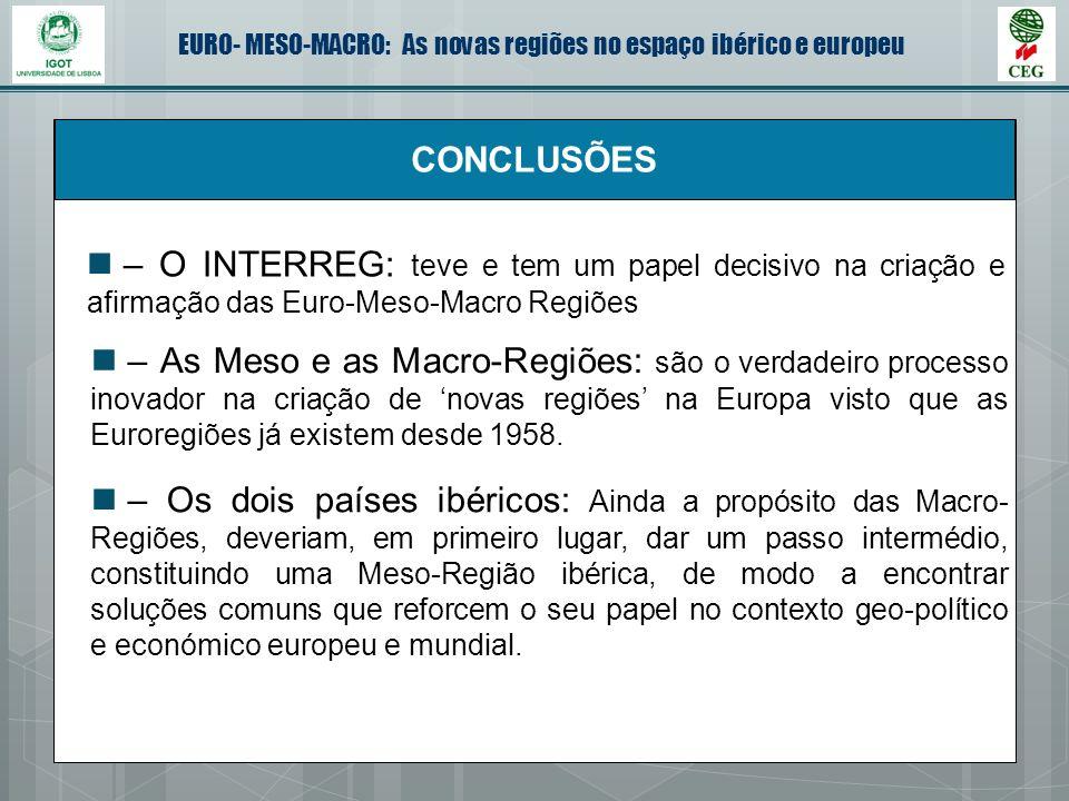 EURO- MESO-MACRO: As novas regiões no espaço ibérico e europeu CONCLUSÕES – O INTERREG: teve e tem um papel decisivo na criação e afirmação das Euro-M