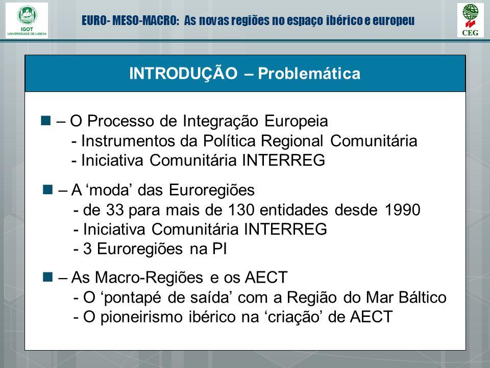 EURO- MESO-MACRO: As novas regiões no espaço ibérico e europeu INTRODUÇÃO – Problemática – O Processo de Integração Europeia - Instrumentos da Polític